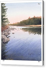 Sunset Lake Watercolor Painting Acrylic Print by Mike Theuer