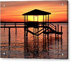 Sunset Lit Pier Acrylic Print