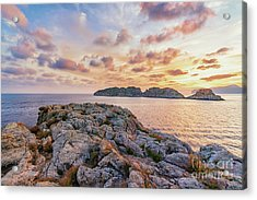 Acrylic Print featuring the photograph Sunset Malgrats Islands by Hans- Juergen Leschmann