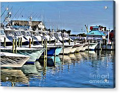 Sunset Marina Acrylic Print by Carey Chen