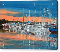 Sunset Marina Acrylic Print by Pete Maier