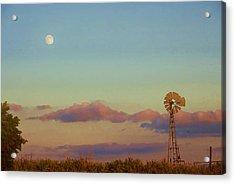 Sunset Moonrise With Windmill  Acrylic Print