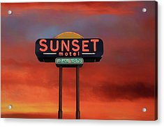 Acrylic Print featuring the photograph Sunset Motel by Donna Kennedy