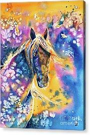 Acrylic Print featuring the painting Sunset Mustang by Zaira Dzhaubaeva