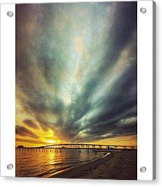 Sunset #oceanspringsms #biloxibaybridge Acrylic Print