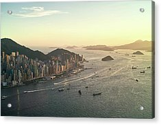 Sunset Of Hong Kong Victoria Harbor Acrylic Print by Jimmy LL Tsang
