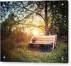 Sunset On A Wooden Bench Acrylic Print by Scott Norris
