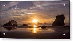 Sunset On Bandon Beach Acrylic Print