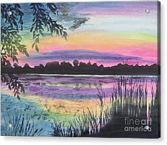 Sunset On Buck Pond Acrylic Print by Judy Via-Wolff