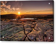 Sunset On Cadillac Mountain Acrylic Print