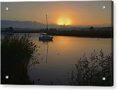Sunset On Exe Estuary At Topsham In Devon Acrylic Print