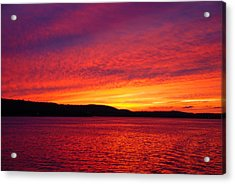 Sunset On Fire Acrylic Print by Larry Nielson