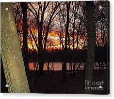 Sunset On Fox River Acrylic Print by Deborah Finley