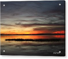 Sunset On Lake Lochloosa Acrylic Print by Judy  Waller