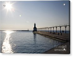 Sunset On Lake Michigan Acrylic Print by Jeannie Burleson