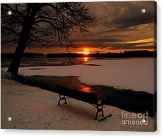 Sunset On Lake Quanapowitt Acrylic Print