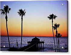Sunset On Manhattan Beach Pier Acrylic Print