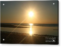 Sunset On Mayflower Beach Acrylic Print by Amy Holmes