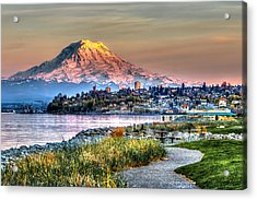 Sunset On Mt Rainier And Point Ruston Acrylic Print
