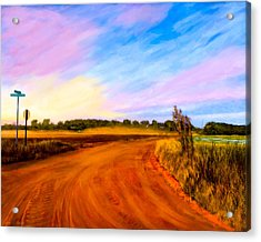 Sunset On Old Dirt Roads In Georgia Acrylic Print by Mark E Tisdale