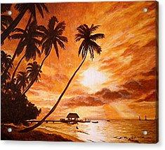 Sunset On Paradise Cove Acrylic Print