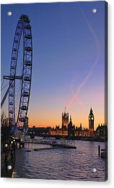 Sunset On River Thames Acrylic Print by Jasna Buncic