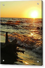 Sunset On The Beach Acrylic Print by Peter Mowry