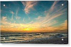 Sunset On The Beach Acrylic Print by Phillip Burrow