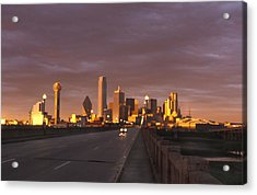 Sunset On The Dallas Skyline Seen Acrylic Print by Richard Nowitz