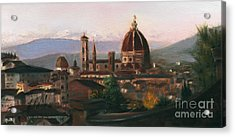 Sunset On The Duomo Acrylic Print by Leah Wiedemer