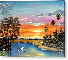 Sunset On The Glades Acrylic Print by Riley Geddings