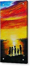 Sunset On The Great Salt Lake Acrylic Print