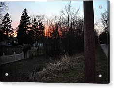 Acrylic Print featuring the relief Sunset On The Great Western Trail by Jeanette O'Toole