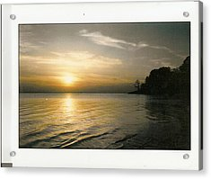 Sunset On The James Acrylic Print by Anne-Elizabeth Whiteway