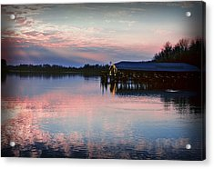 Sunset On The Lake Acrylic Print by Dave Chafin
