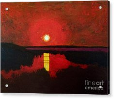 Sunset On The Lake Acrylic Print by Donald J Ryker III