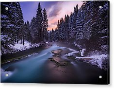 Acrylic Print featuring the photograph Sunset On The Metolius by Cat Connor