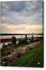 Sunset On The Mississippi Acrylic Print by Jen McKnight