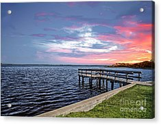Sunset On The Pier Acrylic Print by Richard Burr