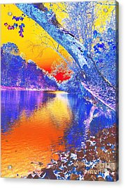 Sunset On The River Abstract Acrylic Print
