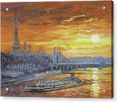 Sunset On The Seine, Paris Acrylic Print