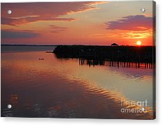 Sunset On The Sound Acrylic Print by Linda Mesibov
