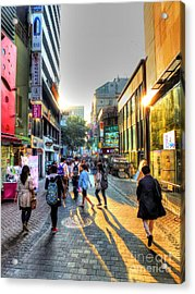 Sunset On The Streets Of Seoul Acrylic Print by Michael Garyet