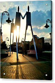 Sunset On The Strollers On South Street Bridge Acrylic Print by Andrew Dinh