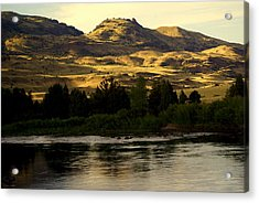Sunset On The Yellowstone Acrylic Print by Marty Koch