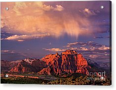 Sunset On West Temple Zion National Park Acrylic Print by Dave Welling
