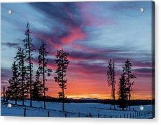 Sunset Over A Farmers Field, Cowboy Trail, Alberta, Canada Acrylic Print