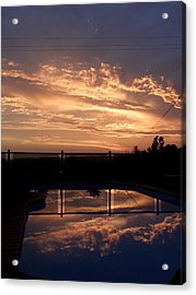 Sunset Over A Pool Acrylic Print by Edan Chapman