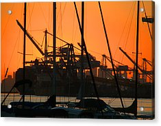 Sunset Over Alameda Harbor Acrylic Print by Charles  Ridgway