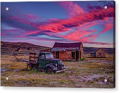 Sunset Over Bodie's Green Truck Acrylic Print